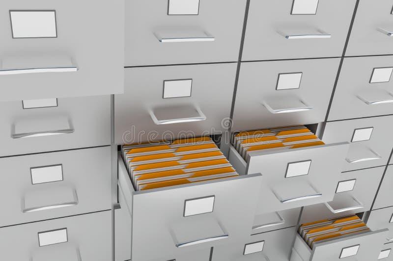 有黄色文件夹的档案橱柜在开放抽屉 向量例证