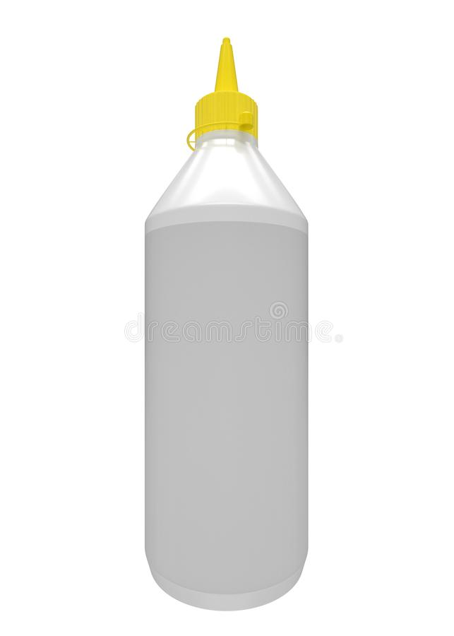 有黄色盒盖的木胶浆瓶 空的模板 库存例证