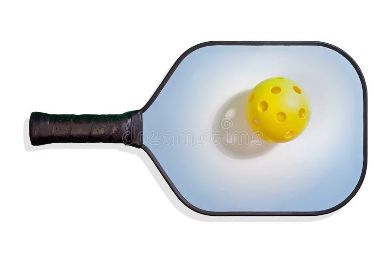 有黄色Pickleball的Pickleball桨 库存图片