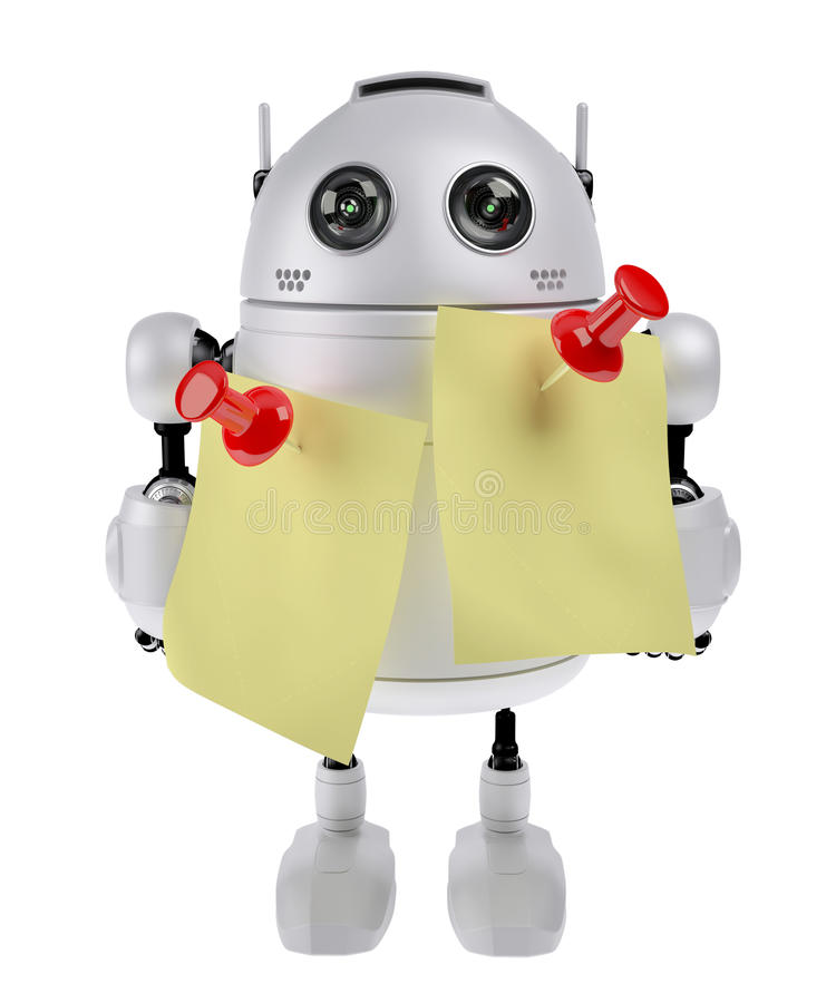 有黏着性附注的机器人 向量例证
