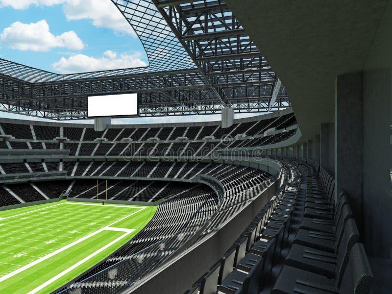 有黑位子的现代橄榄球体育场 库存例证