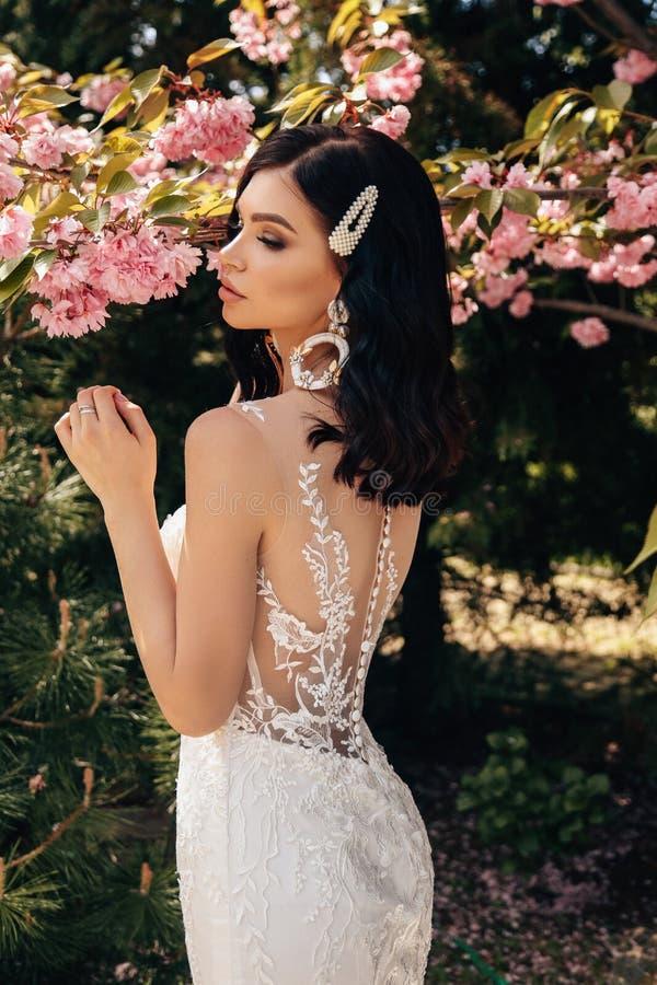 有黑发的美女在有摆在有开花的佐仓树的庭院里的辅助部件的豪华婚纱 免版税图库摄影