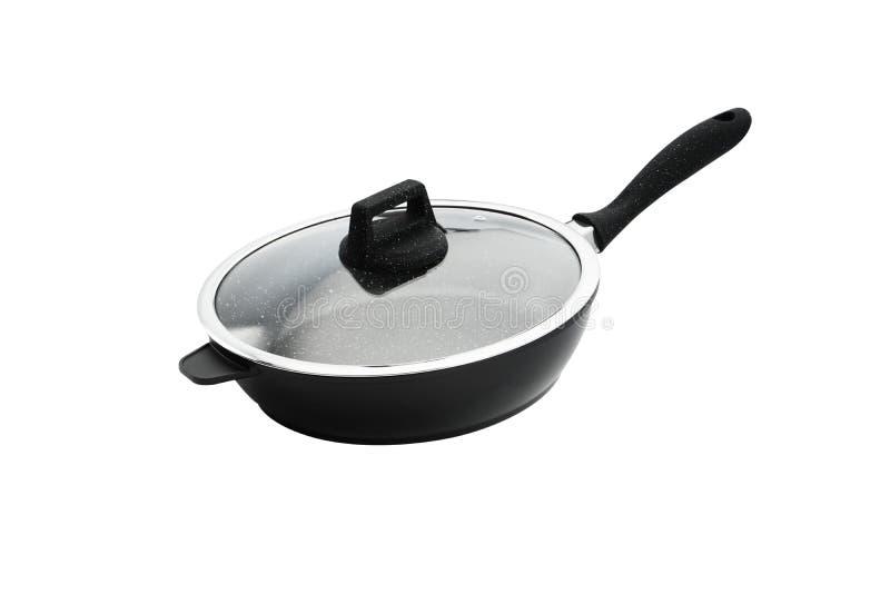 有黑塑料把柄玻璃盖孤立的厨房煎锅在白色背景 库存照片