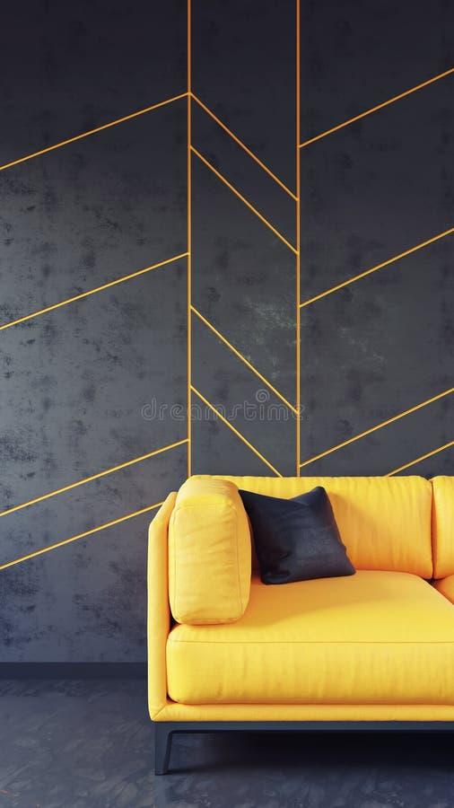 有黑墙板的黄色沙发 免版税库存照片
