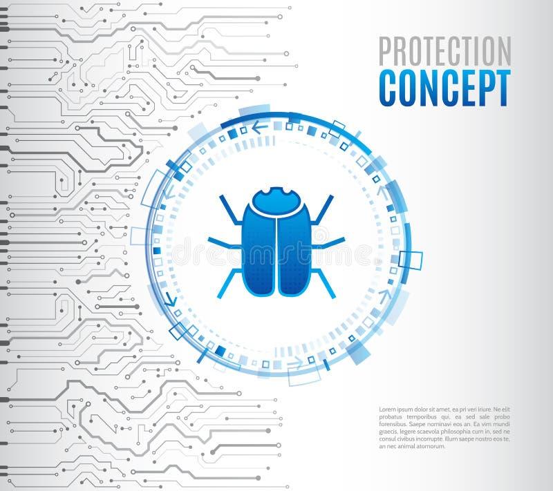 有黑客臭虫的抽象高科技电路板 乱砍和网络罪行 个人数据保密概念 网络安全 皇族释放例证
