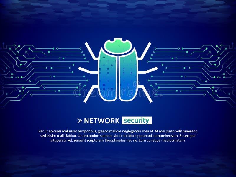 有黑客臭虫的抽象高科技电路板 乱砍和网络罪行 皇族释放例证