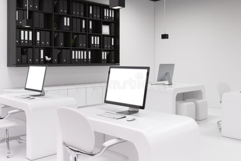 有黑屏的,办公室边两台计算机 向量例证
