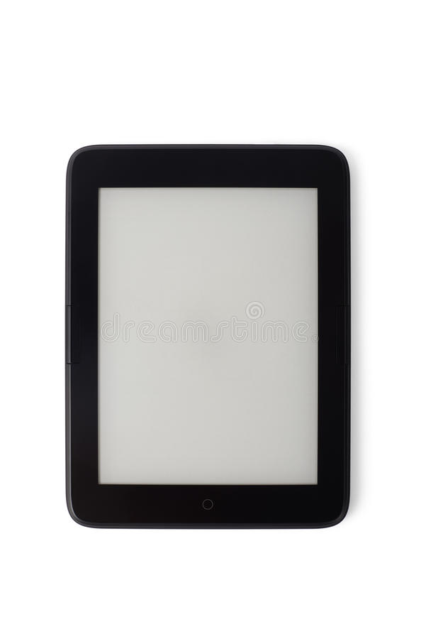 有黑屏的E书设备,隔绝在白色 免版税图库摄影