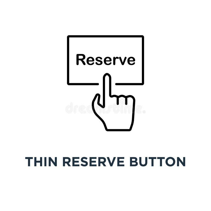 有黑手党象的,预定豪华旅馆或后备的室旅舍或汽车旅馆概念的前秩序的标志稀薄的储备按钮 向量例证