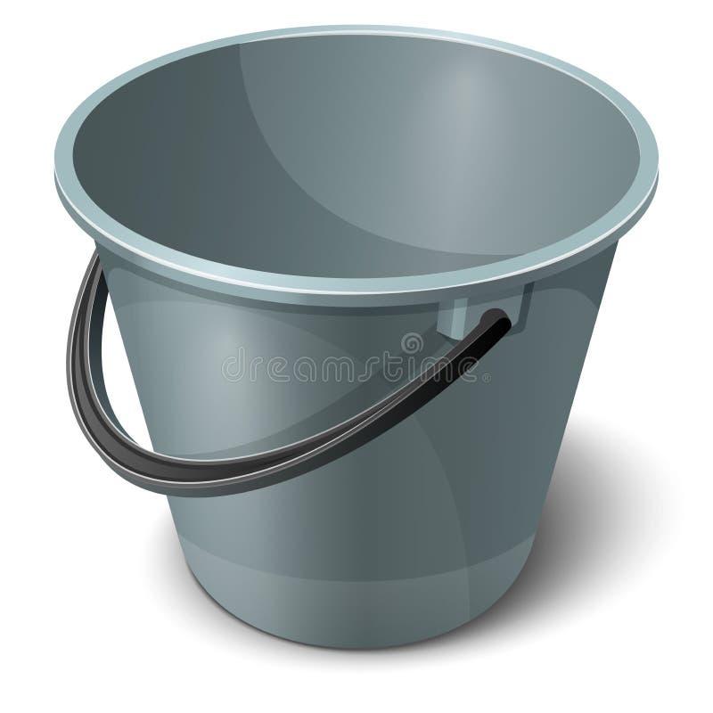 有黑把柄的灰色塑料空的桶 也corel凹道例证向量 库存例证