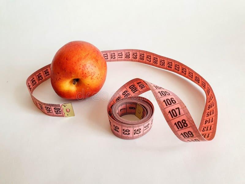 有黑数字的桃红色措施磁带在与沥青的白色自然本底 测量的磁带的接近的看法 题材:饮食, 免版税图库摄影