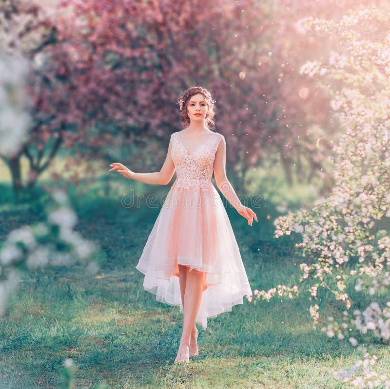 有黑暗的被会集的头发的神奇夫人在一件轻的精美桃子礼服在开花的庭院,春天神仙里走 免版税库存图片