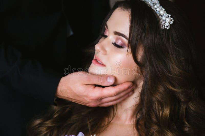 有黑暗的长发的美丽的新娘在典雅的婚纱和王冠 库存图片