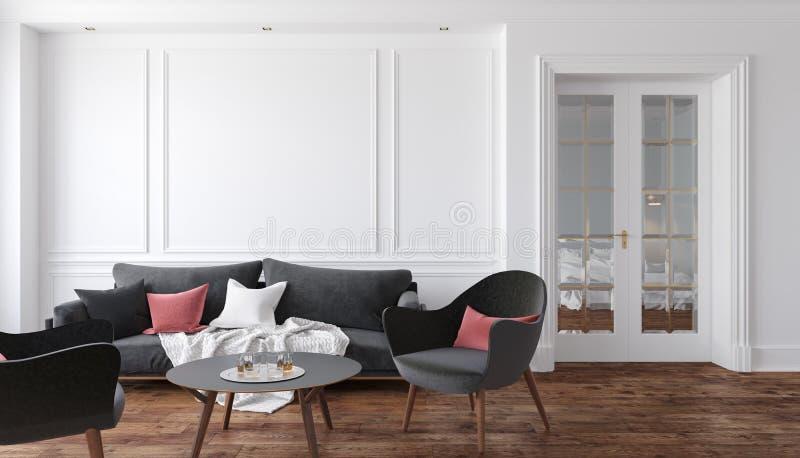 有黑沙发和扶手椅子的经典白色内部客厅 例证嘲笑 皇族释放例证