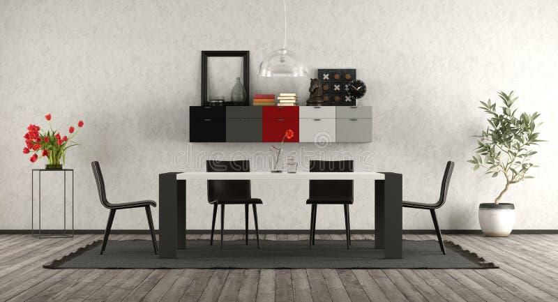 有黑白家具的现代餐厅 向量例证