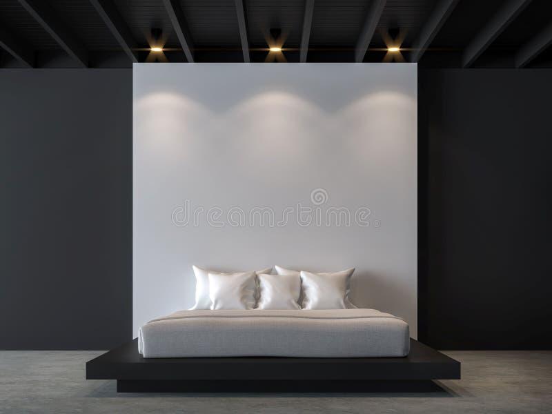 有黑白3d翻译图象的现代顶楼卧室 库存例证