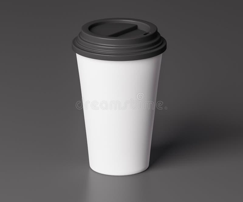 有黑盒盖的- 3D白皮书杯子例证 库存例证