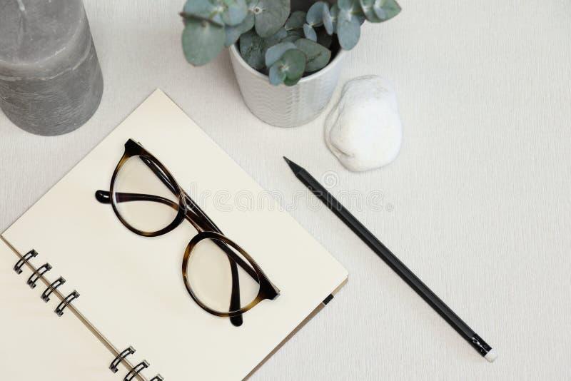 有黑笔、绿色植物、石头和蜡烛的被打开的笔记本 免版税库存照片
