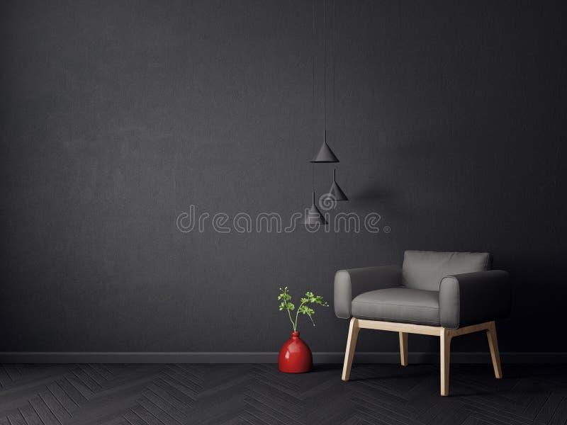 有黑色和灯的现代客厅 斯堪的纳维亚室内设计家具 向量例证
