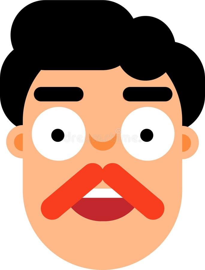 有黑色头发smilling的面孔平的deaign的中年人 皇族释放例证