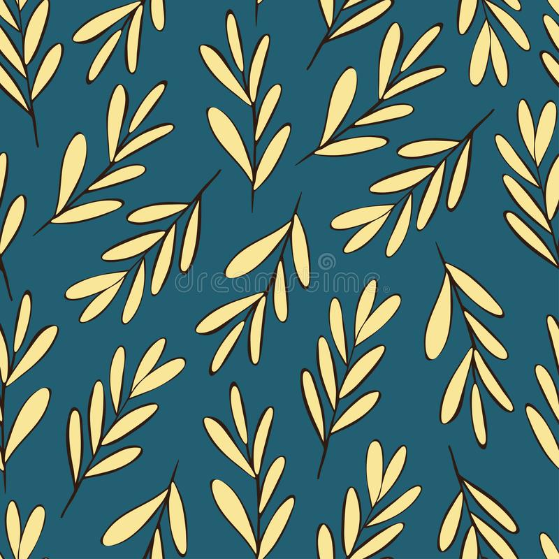 有黑褐色概述无缝的样式的装饰米黄叶子 皇族释放例证