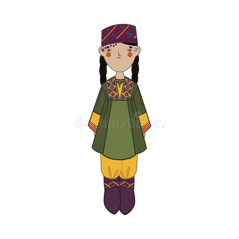 有黑长发的逗人喜爱的女孩在全国乌兹别克斯坦衣裳 皇族释放例证