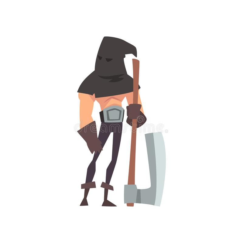 有黑Headwear的男性刽子手和轴,在传统服装传染媒介的中世纪历史卡通人物 皇族释放例证