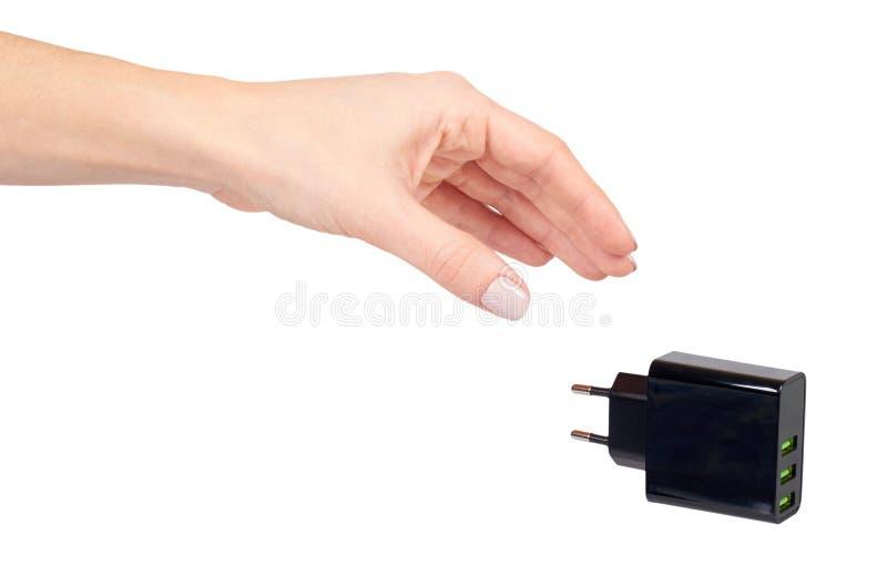 有黑USB墙壁chrger插座的,三个口岸手 库存照片