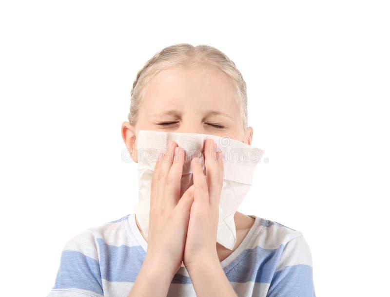 有鼻子刮水器的女孩在白色背景 r 图库摄影