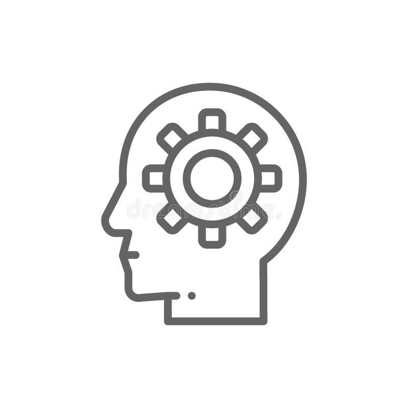 有齿轮的头,脑子过程,知识,认为,想法线象 皇族释放例证