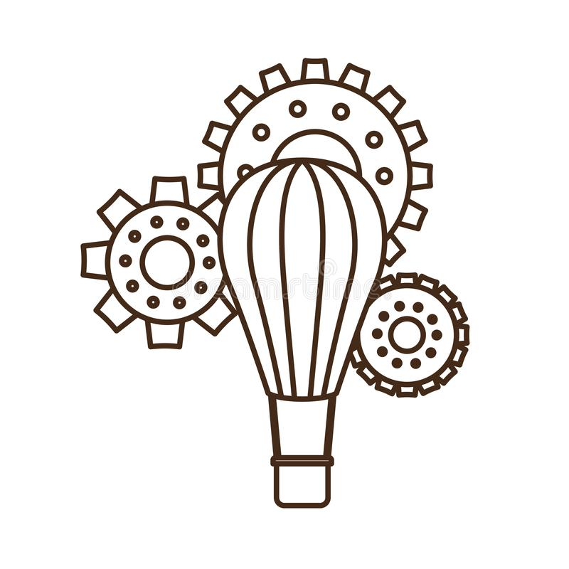 有齿轮被隔绝的象的热空气气球 库存例证