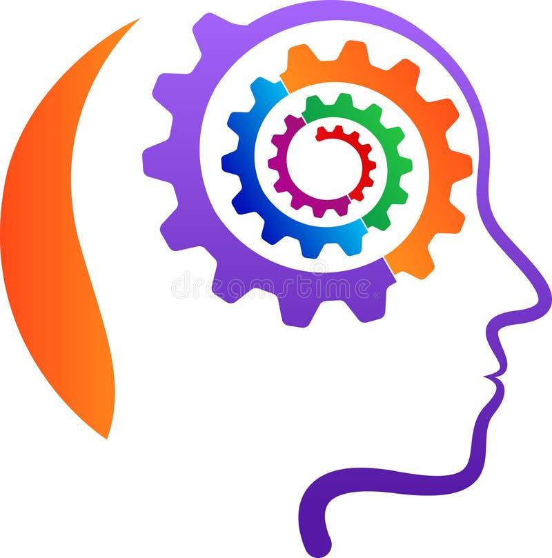 有齿轮头脑的头 库存例证