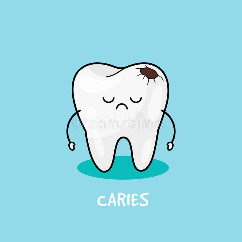 有龋象的牙 儿童牙科的例证 口腔卫生,牙清洗 皇族释放例证