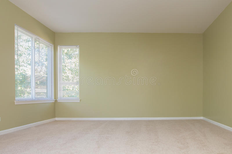 有2个窗口地毯地板的空的室 免版税库存照片