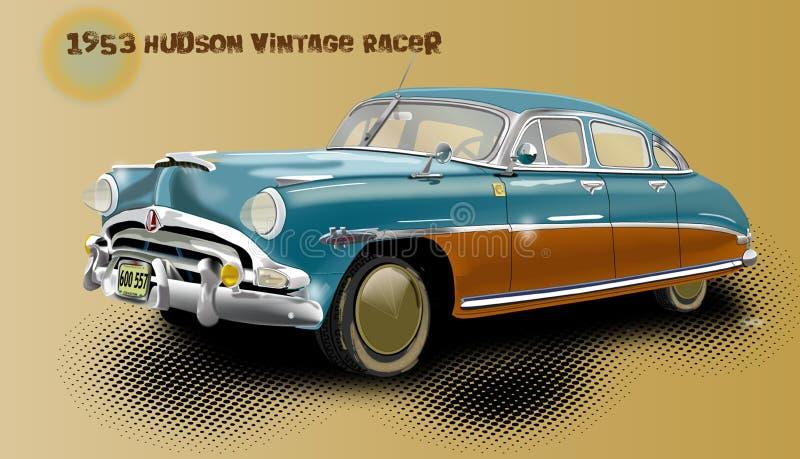 1953年有4个门的哈德森汽车和与文本的基本的背景 免版税库存照片