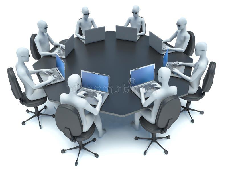 有黑人桌和3d人的会议室 皇族释放例证