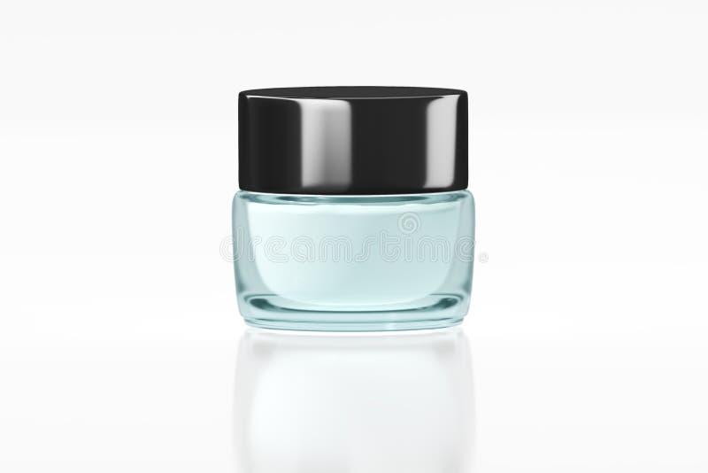 有黑光滑的塑料盒盖3D翻译的绿松石颜色玻璃瓶子 库存例证