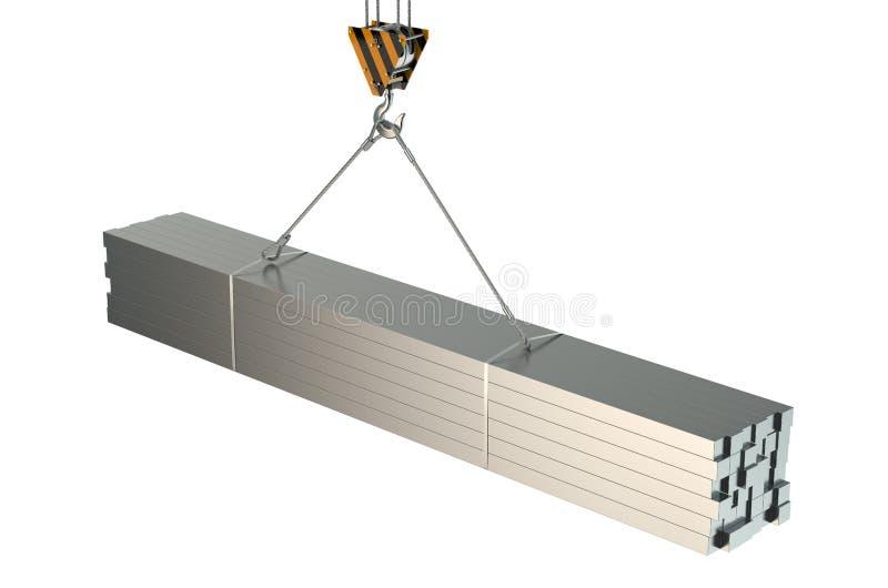 有滚动的金属角形材的起重机勾子 皇族释放例证