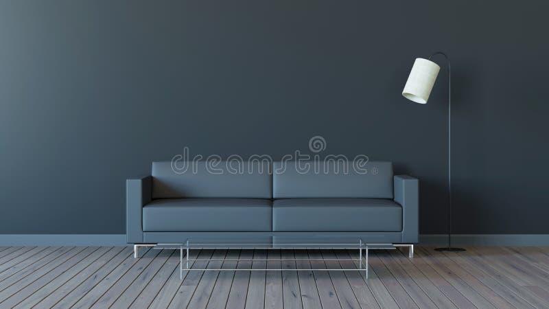 有黑口气的3d现代客厅回报图象 库存例证