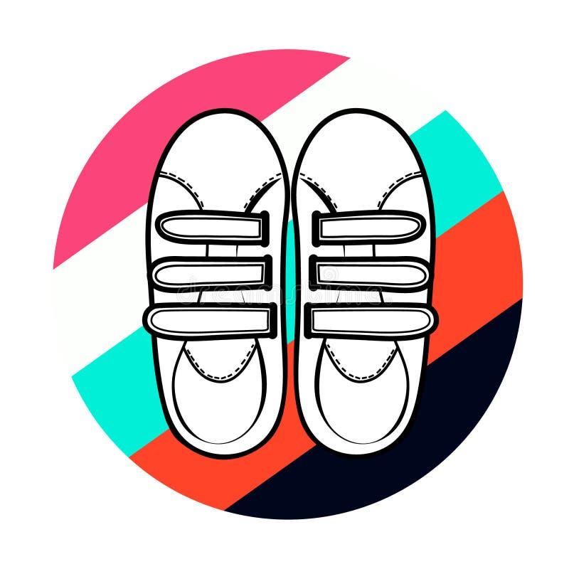 有维可牢尼龙搭扣的白色运动鞋 免版税库存照片