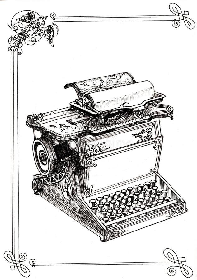 有组合图案的老打字机 库存例证