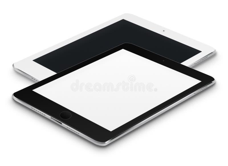 有黑和黑屏的现实片剂计算机 向量例证