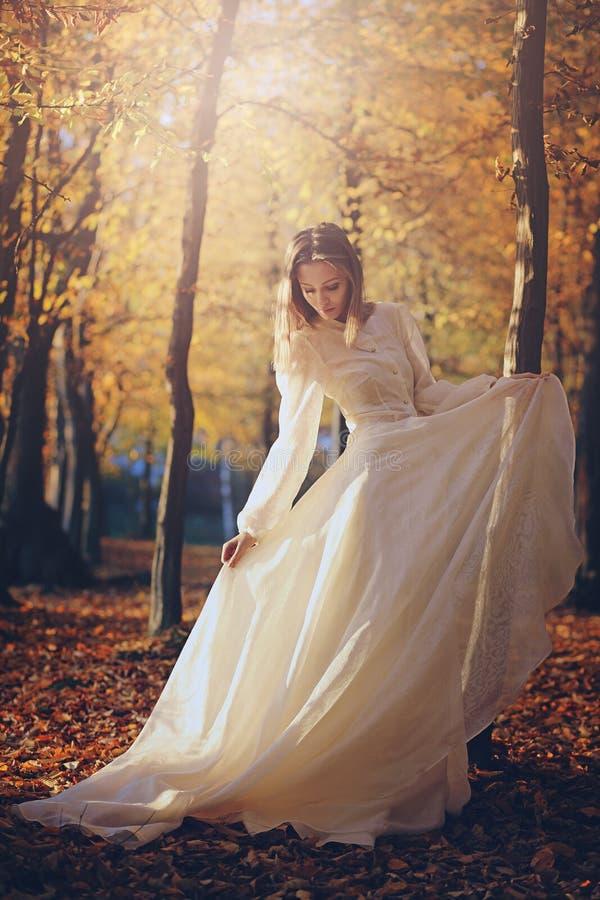 有维多利亚女王时代的礼服的妇女在秋天森林 库存图片