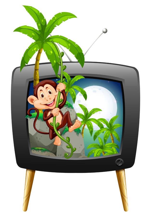 有猴子的电视屏幕在树 向量例证