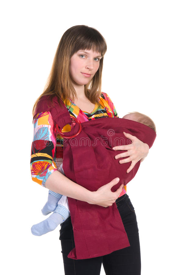 有婴孩的母亲吊索的 库存照片