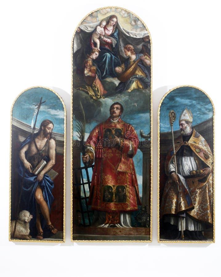 有维尔京的圣劳伦斯湾、基督和天使、圣约翰浸礼会教友和圣尼古拉斯 免版税库存图片