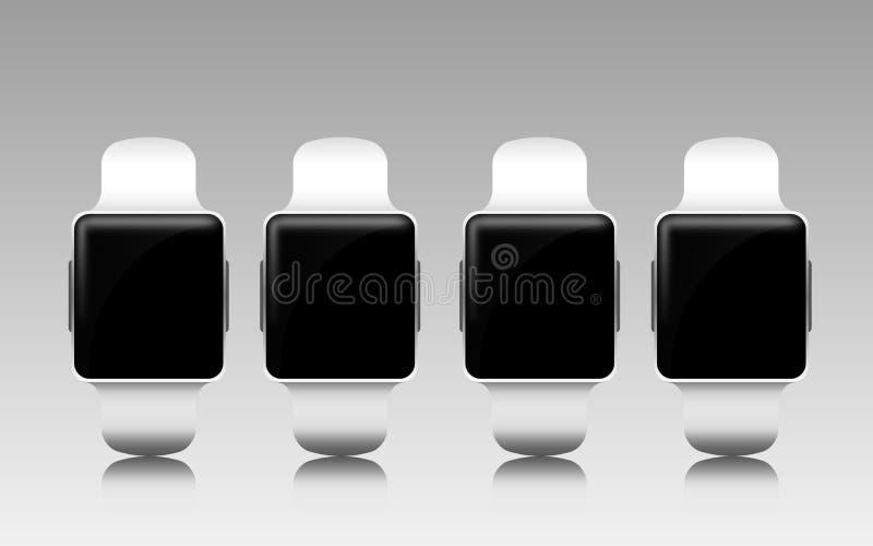 有黑黑屏的巧妙的手表在灰色 库存例证