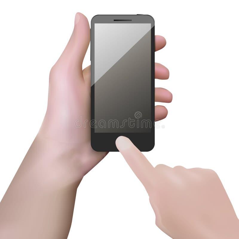 有黑屏的现实黑手机在手中 皇族释放例证