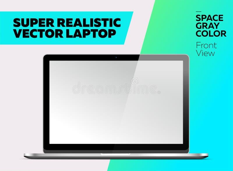 有黑屏的超级现实传染媒介笔记本 向量例证