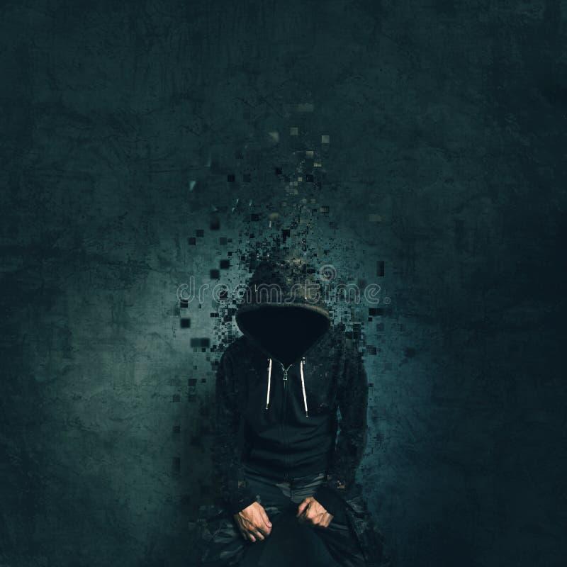 有戴头巾夹克溶化的鬼的邪恶的犯罪人 免版税库存照片